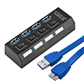 Mini USB 3.0 Hub 4 Portas 5 Gbps de Alta Velocidade Hubusb Portátil USB Hub Com On/Off Switch USB Splitter Cabo Adaptador Para PC Laptop