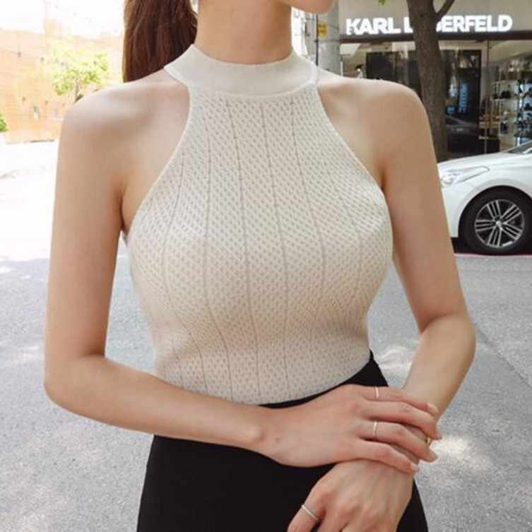2019 O Neck Sleeveless Knitted Fabric Tank Top Womens Female Fitness Vest For Ladies Sexy Summer Tops Waistcoat Crochet Top