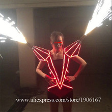 Led Luminous Illuminate Glowing Novelty Sexy Women Clothing Dress Can Spray fireworks Led Costume Suit For Stage Show