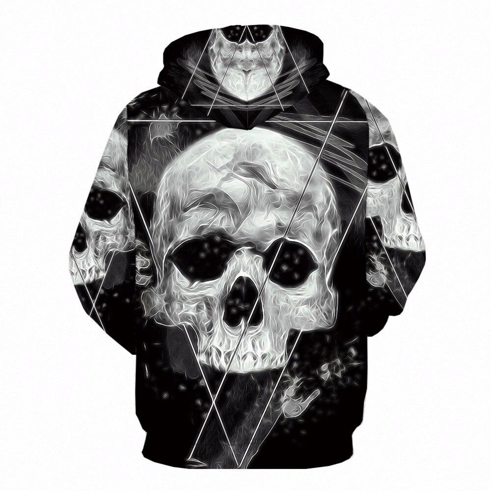 KYKU 3d Skull Hoodies Men Sweatshirts World Map Hoodie Anime Blue Long Printed Sweatshirt For Men Funny Punk Mens Clothing New
