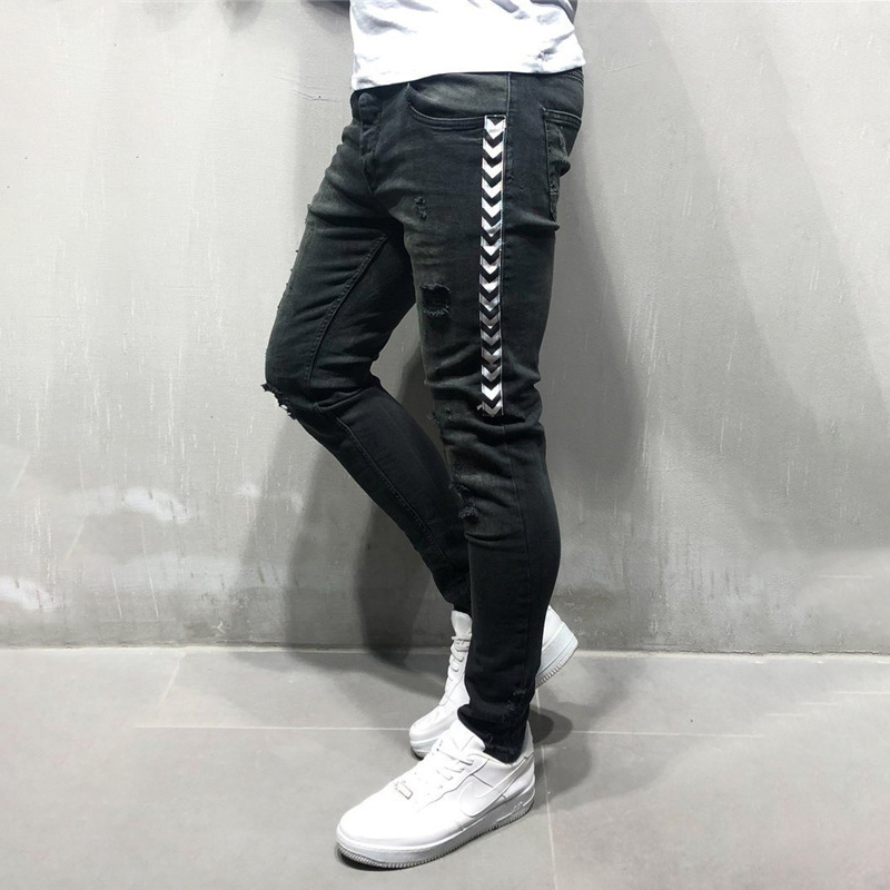 New Men Slim Fit Hip Hop Skinny Jeans Fashion Side White Stripe Distressed Ripped Stretch Streetwear Denim Trousers