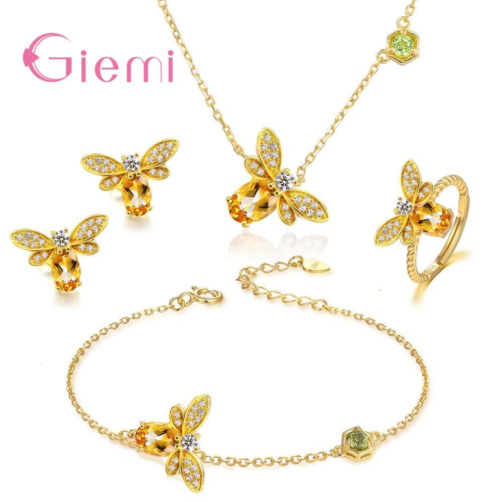 Women Animal Bee Cubic Zirconia 925 Sterling Silver Wedding Jewelry Sets Earrings Pendant Necklace Rings Earrings Bracelets