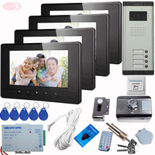 SUNFLOWERVDP Video Doorphone Kit Four Video Intercom+Rfid Unlock Electronic Lock Intercom 7 Inch Video Monitor IR night vision