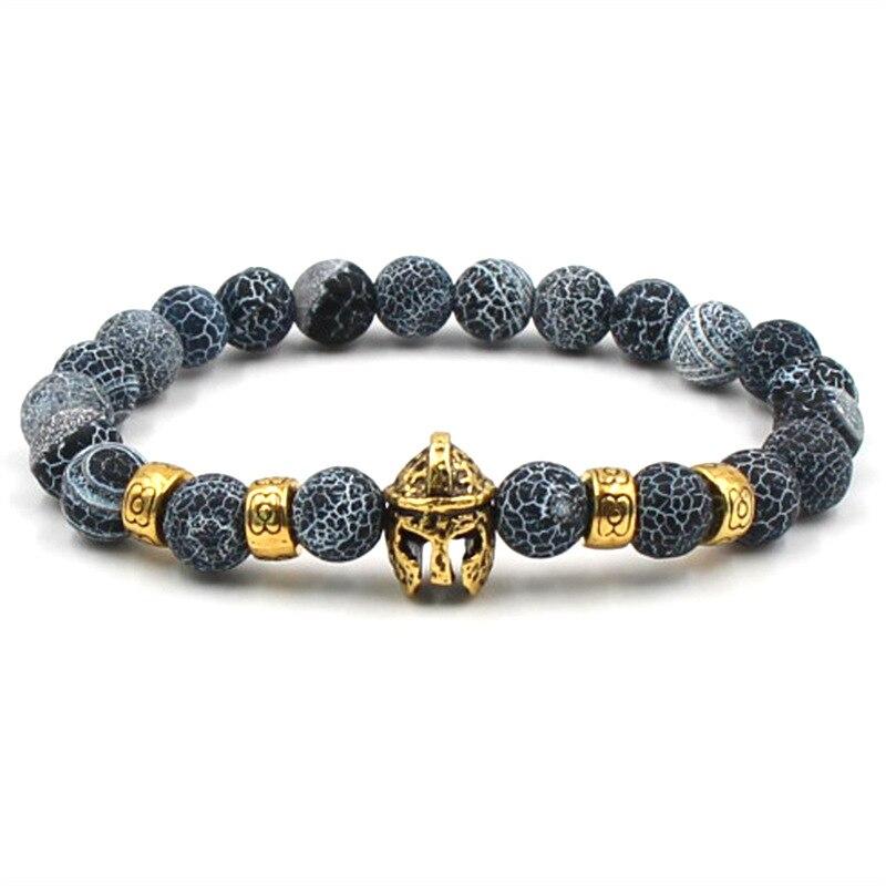 Natural stone Gold Head Bracelets Volcanic Stone Black Couple Beaded Bracelets Men Jewelry Fashion Woman Bracelets 2019 2