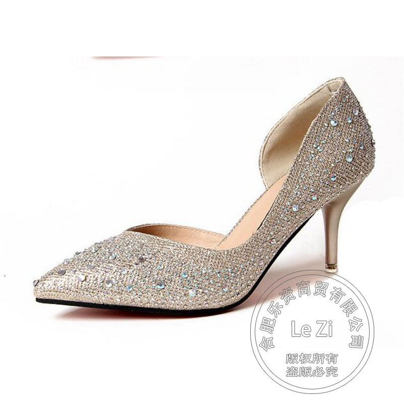 Prom Slip On Bling Bride Silver Single Rhinestone Wedding Shoes 2016 Thin Stiletto Heels High Bridal