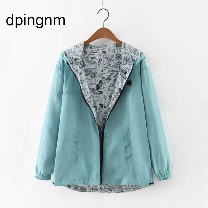 Spring Autumn Women Bomber   Basic     Jacket   Pocket Zipper Hooded Two Side Wear Cartoon Print Outwear Loose Coat S-XXXL