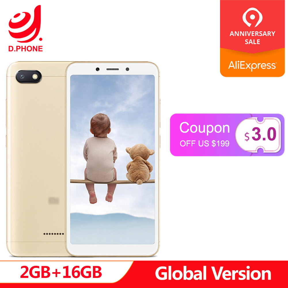 En Stock Original versión Global Xiaomi Redmi 6A 2 GB 16 GB 5,45 18:9 Pantalla Completa MTK Helio A22 quad Core 13MP la cámara del teléfono móvil
