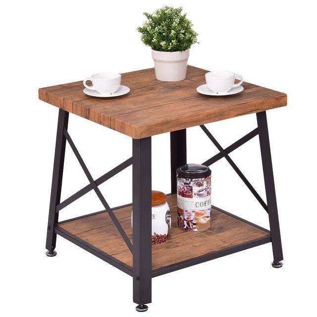 Giantex Square Coffee Table Modern Living Room Tail End Metal Frame Wood Top Home Furniture