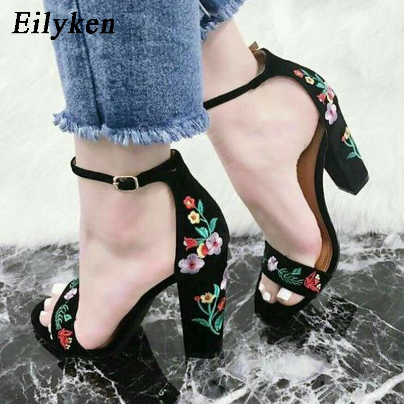 Eilyken Summer 2019 New Flower Embroider Strap High Heel Women Sandals Fashion Women Pumps High Heels Sexy Square Heel