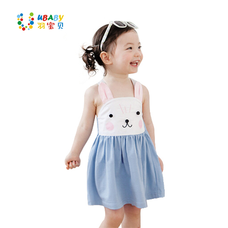 2017 Summer Baby Clothes Childrens Clothing Shoulder Cute Rubbit Bebe Dress Bunny Cute Overalls Kids Baby Dress