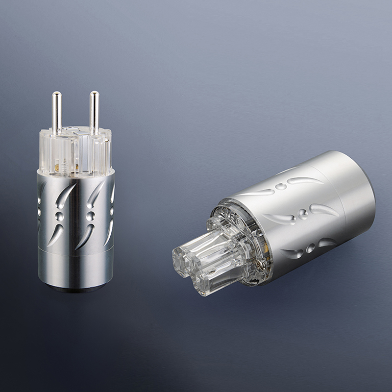 Free shipping One pair Viborg VE512S&VF512S Pure Copper Silver Plated HIFI EU Power Plug+IEC Female Connector free shipping pair viborg pure copper gold plated eu schuko power plug iec connector jack for diy hifi electrical pow