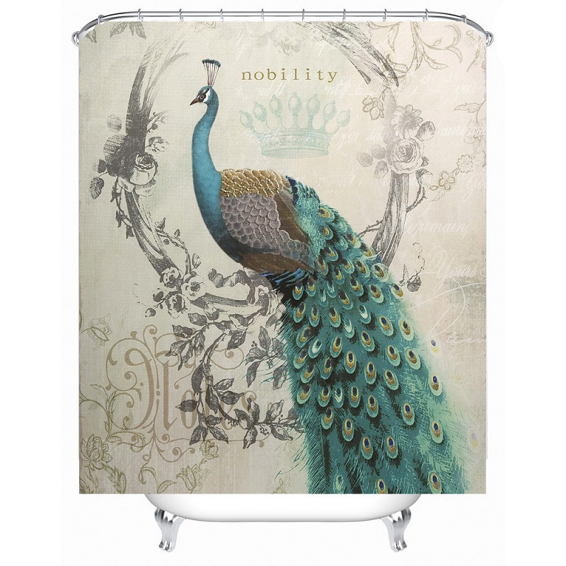 shower curtain peacock pattern waterproof polyester bath curtain bathroom accessories 180x180cm curtains home decoration