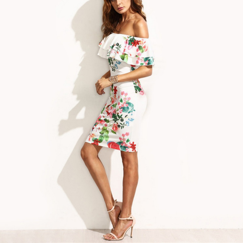 cbdcf25384f0 EFINNY Women Floral Cotton Midi Dresses Knee Length Ladies Ruffled Off  Shoulder Slim Summer Dresses Vintage-in Dresses from Women s Clothing on ...