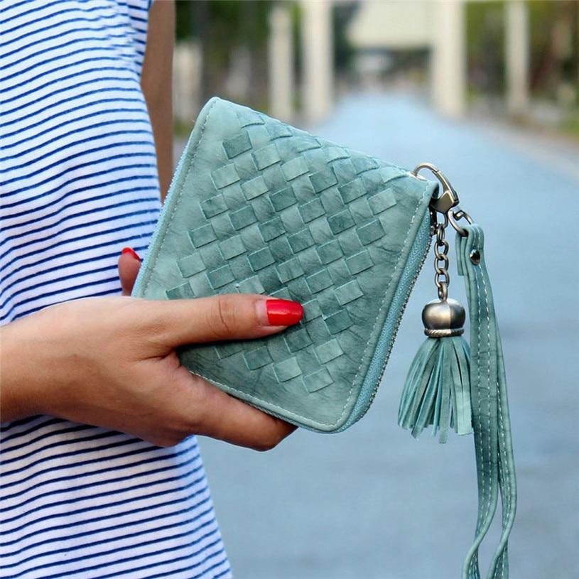 2ac904f04e2d Dollar Prix Carré femmes poche porte-monnaie en cuir De Mode portefeuille  femelle gland portefeuilles Marque femmes Court Bourse carteras mujer