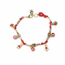 many colors small shamsa hand evil eye charm gold bead bracelet DIY bracelet(China)