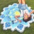 Envío de la gota nueva llegada indio mandala tapiz loto estera de yoga flor imprimió el mantón de la borla de bohemia protector solar toalla de playa
