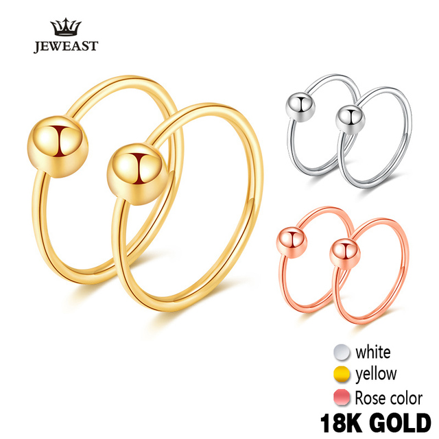 18k Gold Hoop Earrings Simple Elegant Trendy Exquisite Classic Round Beads Hoop Earring Women Girl Gift Rose Yellow White Hot