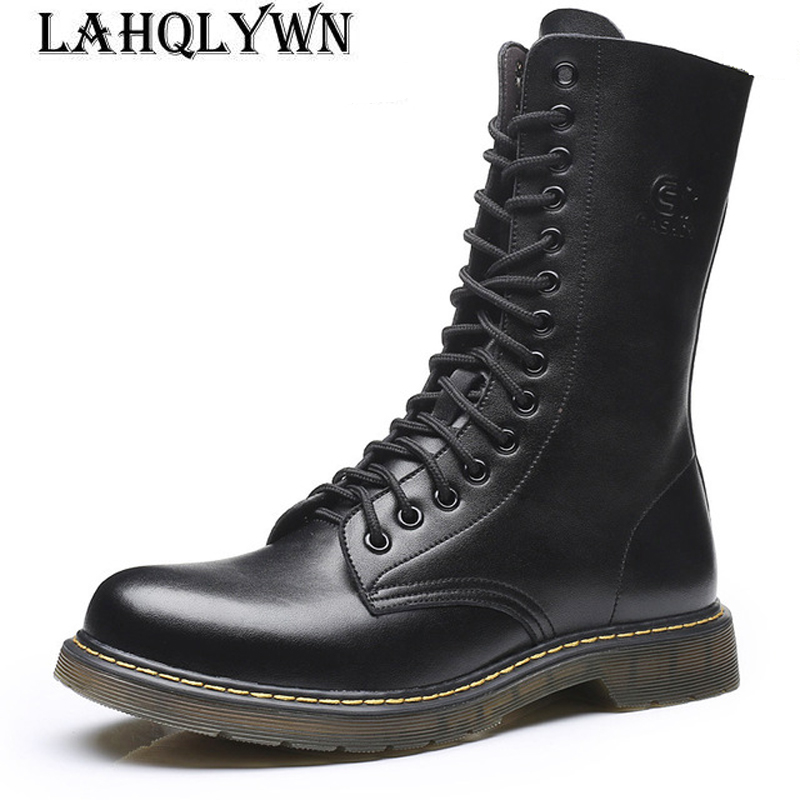 Army-Boots Outdoor Genuine-Leather Mid-Calf Non-Slip Lace-Up M076 Wear-Resistant Men