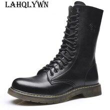 Мужские армейские ботинки до середины икры; мотоциклетные ботинки из натуральной кожи на шнуровке; нескользящие износостойкие уличные рабочие ботинки; M076