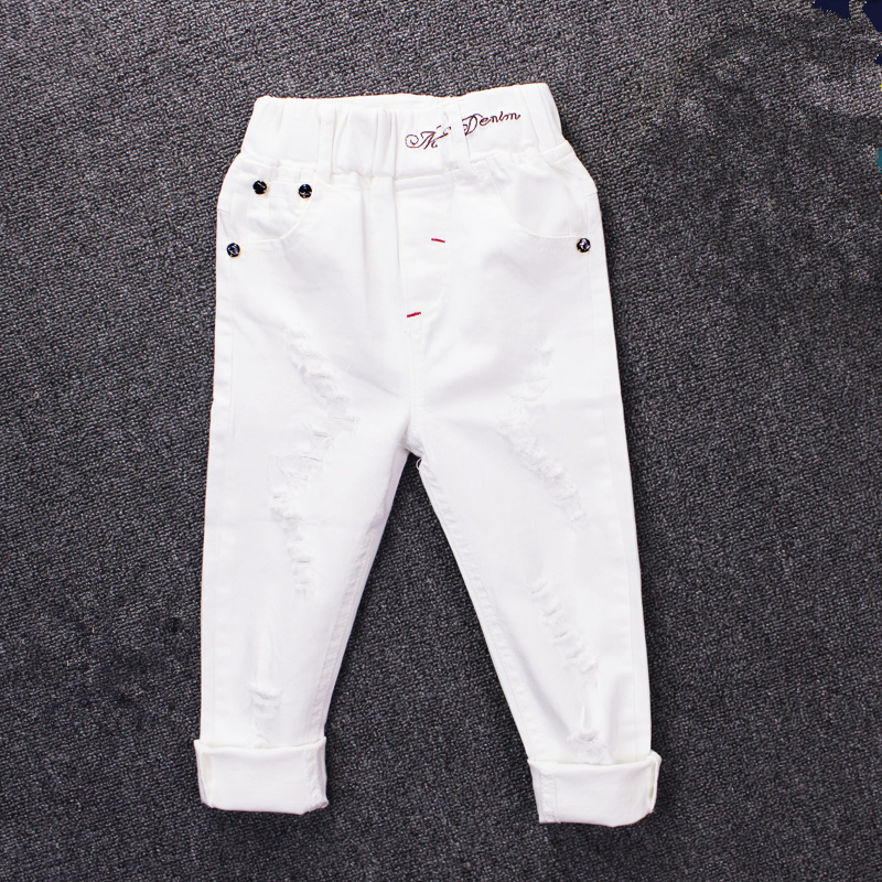 2017 children's jeans boy white casual pants in the big children spring and autumn girls Slim pants pants baby holes kimocat boy and girl high quality spring autumn children s cowboy suit version of the big boy cherry embroidery jeans two suits