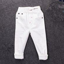 2019childrens ג ינס ילד לבן מכנסי קזואל הגדול ילדי אביב ובסתיו בנות Slim מכנסיים מכנסיים תינוק חורים