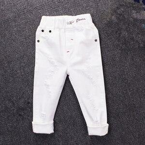 Image 1 - 2019childrens ג ינס ילד לבן מכנסי קזואל הגדול ילדי אביב ובסתיו בנות Slim מכנסיים מכנסיים תינוק חורים