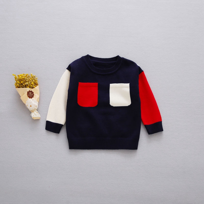 Preppy-Style-Autumn-Baby-Boys-Color-Block-Two-Pockets-Long-Sleeve-O-Neck-Children-Kids-Pullover-Casual-Knitwear-Sweater-2