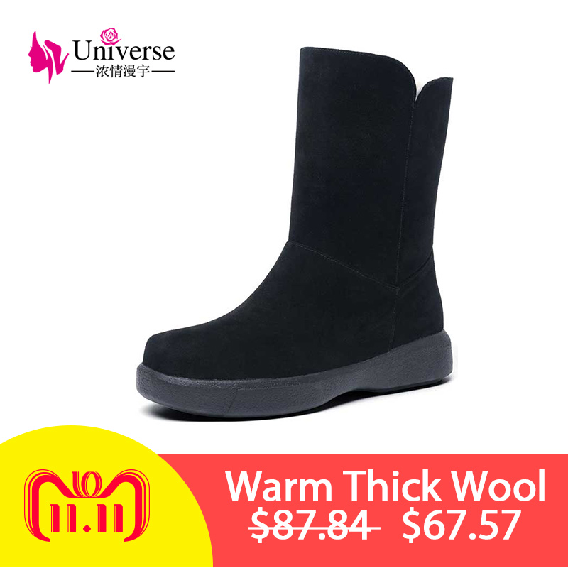 Universe warm thick wool lining snow boots sweet rubber suede upper slip-on winter boots women shoes flat mid calf boots G415 mcckle ladies faux fur warm flat shoes tassels edging footwear suede women snow boots sewing slip on mid calf winter boots