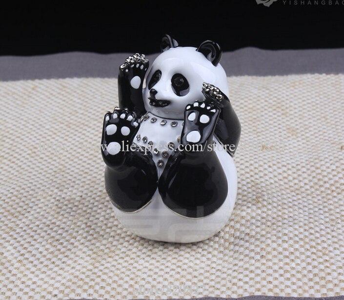 Panda Trinket Box With Crystals Panda Pewter Hinged Ring Trinket Box Gorgeous Panda Bear Jewelry Box Wildlife Animals