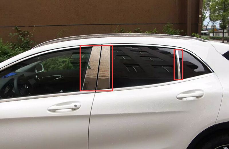6PCS / Set Stainless Steel Center Pillar Window Decorative Cover Trim For Mercedes Benz GLA X156 2014 2015 Car Accessories Style for vauxhall opel astra j 2010 2014 stainless steel window frame moulding trim center pillar protector car styling accessories