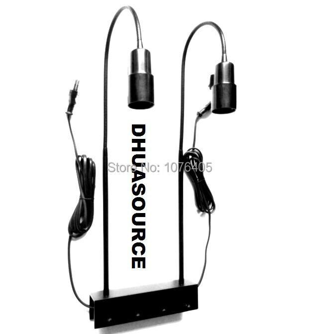 Support de lampe à Double tête accessoires de lumière support de lampe E27 pince de col de cygne base de lampe de réservoir de poisson luminaires clip