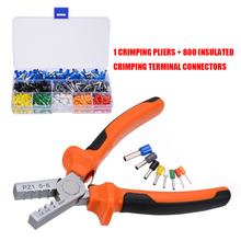 800 pces isolado cabo fio terminal crimp conector com mão virola crimper alicate friso kit de ferramentas conjunto para fiação stripper
