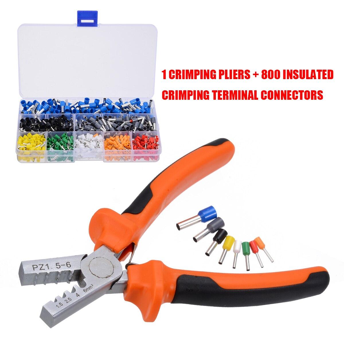 800 pcs Cabo de Fio Terminal Conector com Mão Conjunto Kit Ferramenta de Friso Crimper Alicate AWG Ponteira 10-23