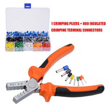800pcs Insulated Cable Wire Terminal Crimp Connector with Hand Ferrule Crimper Plier Crimp Tool Kit Set for Stripper Wiring