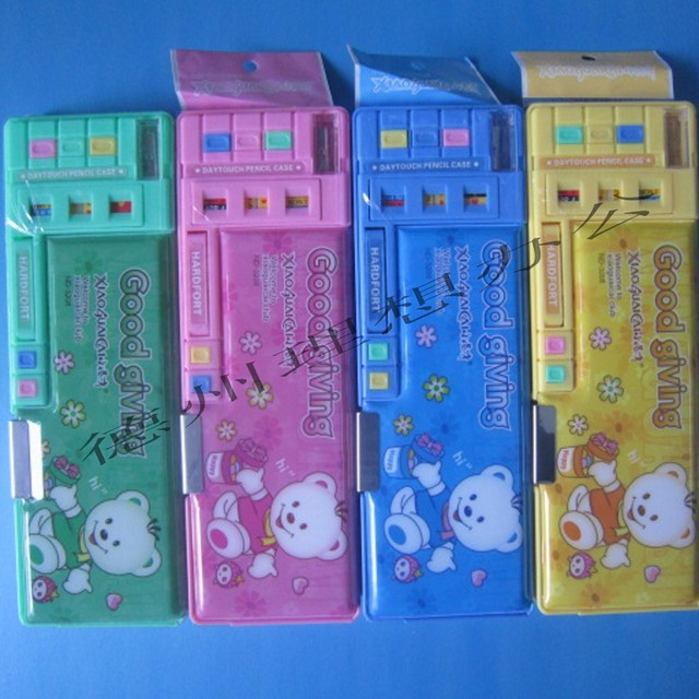 Pencil box pp plastic double faced automatic multifunctional nd-3208 pencil box stationery box
