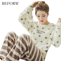 BEFORW Autumn Winter Women Flannel Pajamas Set O Neck Long Sleeves Cute Women Pajamas Warm Cartoon