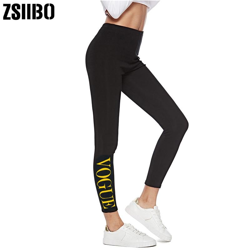 ZSIIBO VOGUE Letter Legging Women Lady Activewear Black Legging Summer Letter Print Pants Autumn Mid Waist Leggins Original