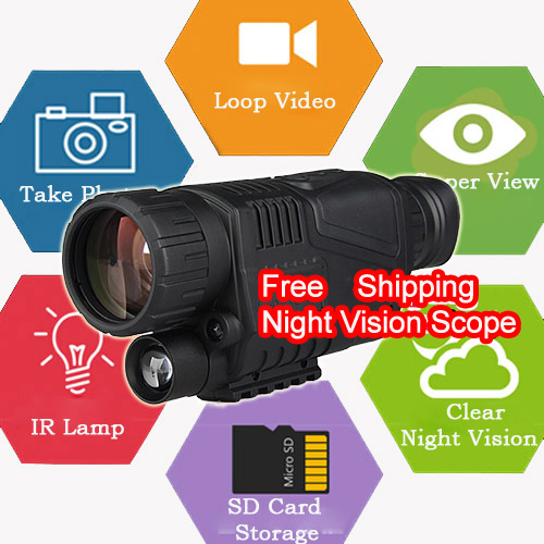 Free Shipping Hunting Night Vision Scope 5X Magnification Digital Video Picture Shooting Night Vision Scope Hunting PP27-0012
