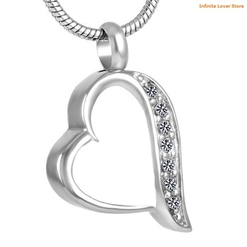 KLH8225-1 Wholeasle Sparking Crystal Heart Stainless Steel Cremation Memorial Jewelry Urn Ash Holder Pendant Necklace