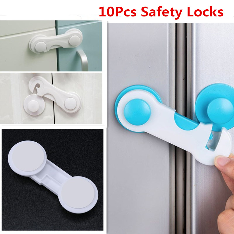 10pcs/Lot Drawer Door Cabinet Cupboard Toilet Safety Locks Baby Kids Safety Protection Plastic Locks Straps Baby Safety Lock