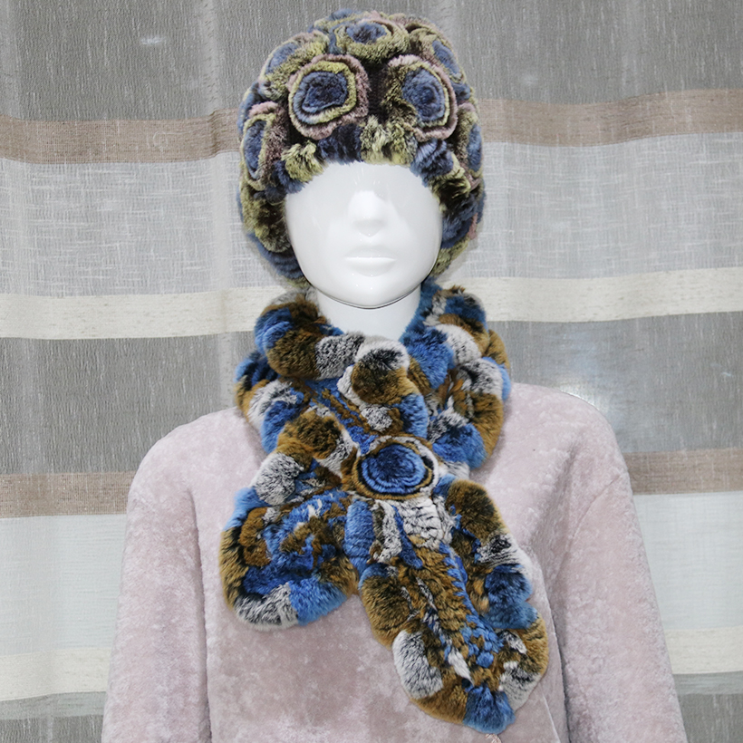 Sombreros y bufandas para mujer Piel de rex genuina Sombrero de flor - Accesorios para la ropa - foto 6