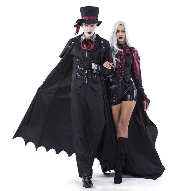 US $61.19 10% OFF|Adult Count Dracula Costume Ladies Gentlemen Deluxe Gothic Vampire Suit Halloween Costume Blood Sucking Vampire Fancy Dress in
