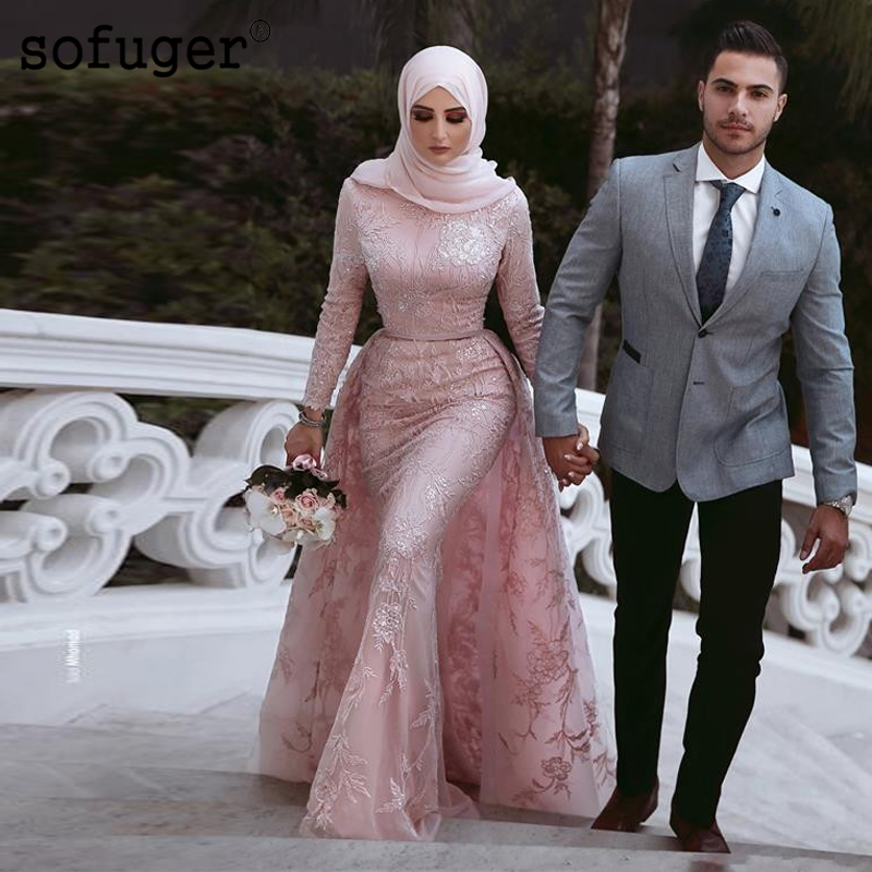 Pink Muslim Style Mermaid Wedding Dresses Hijab Saudi Arabic Detachable Train Long Sleeve High Neck Bridal Gown