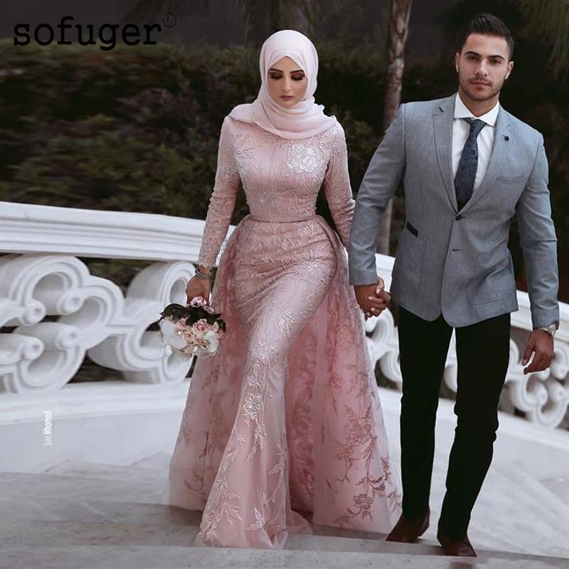 Pink Muslim Style Mermaid Wedding Dresses Hijab Saudi Arabic Detachable Train Long Sleeve High Neck Bridal Gown