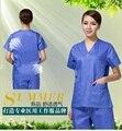 100% Mulheres Casaco de Algodão feito uniformes Médicos de Laboratório do Hospital Hospital Médico Esfrega Roupas blusas desgaste do trabalho Uniforme Respirável