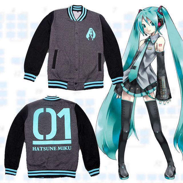 Anime VOCALOID Hatsune Miku Unisex Varsity College Baseball Jacke Warme Mantel Lassig Uniform Tops