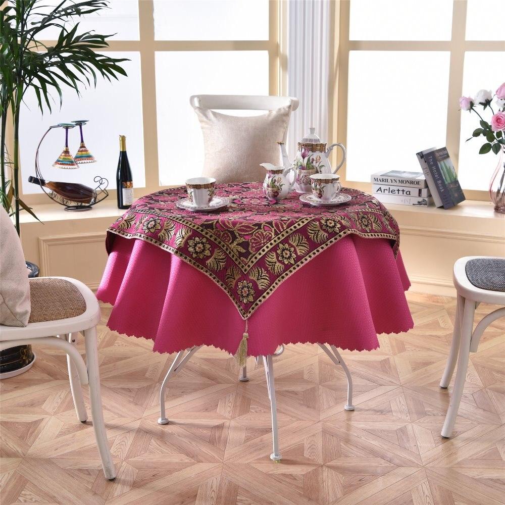 Latest 2 Pcs Set Round 140cm Square 85cm Sequin Console Table Linens Romantic Rose Red