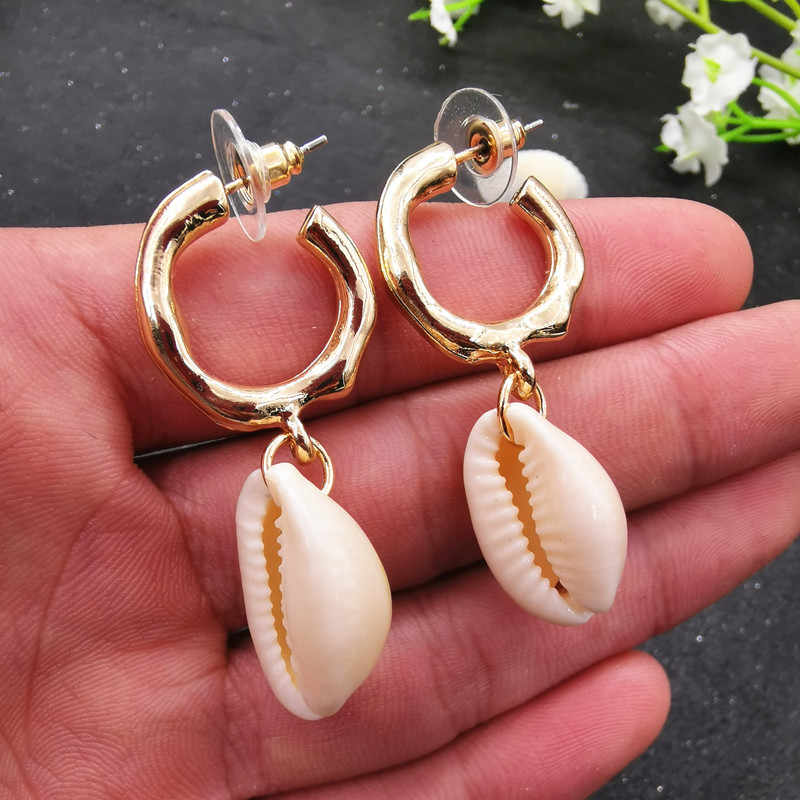 Vintage gold color Geometric Shell earring For women Irregular statement earring fashion Cowrie Pendant brincos 2019 jewelry