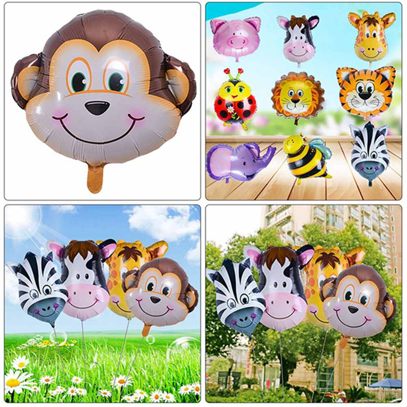 Mini Cartoon Mini Lion & Monkey & Tiger Animals Head Helium Foil Balls Animal Air Balls Theme  Toys For Children