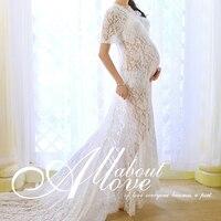 Fashion Maternity Lace Dress Photography Props White maternity Photography Dresses Pregnant Dress Woman Q6